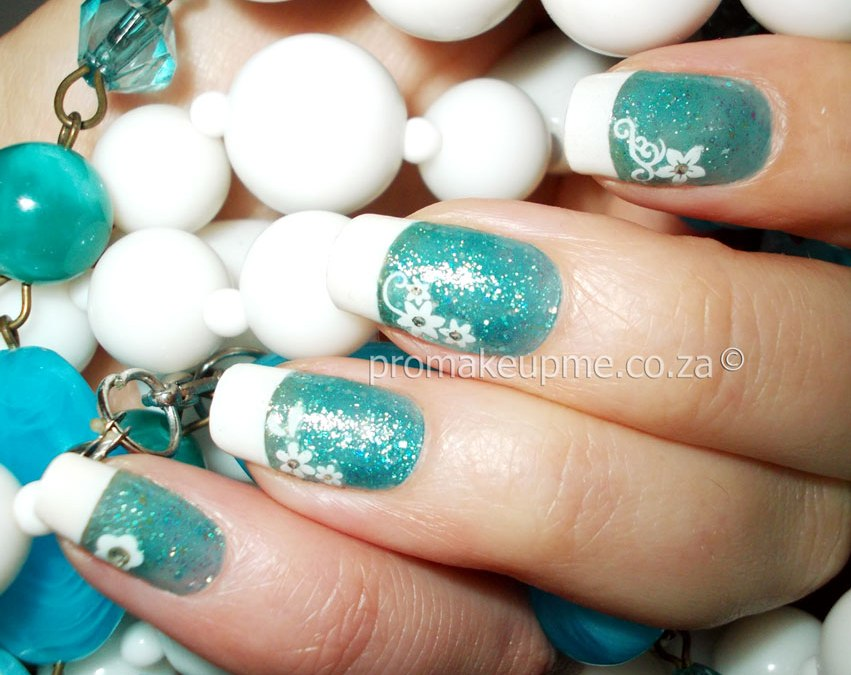 Turquoise French Tips Nail Art
