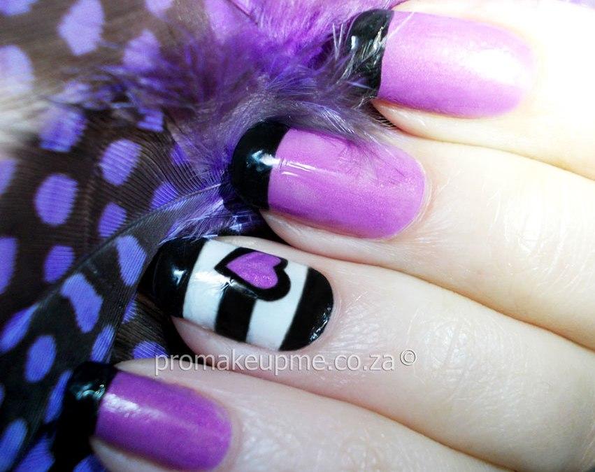 Black White Stripes Purple Heart Nail Art