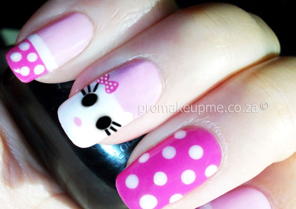 Hello Kitty Nail Art step four