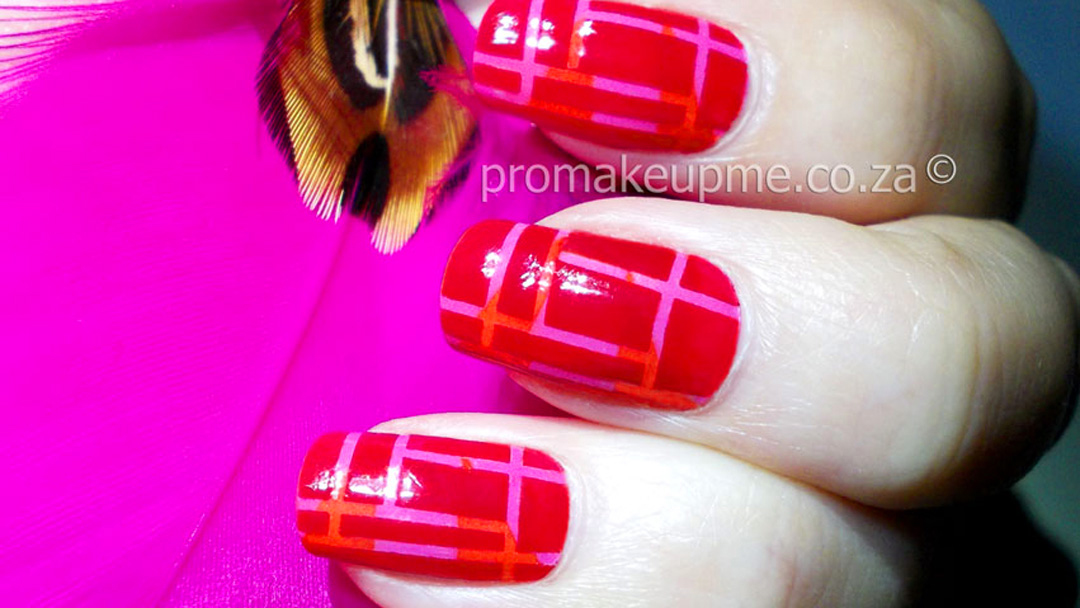 Red Pink Orange Striping Tape Nail Art Feature