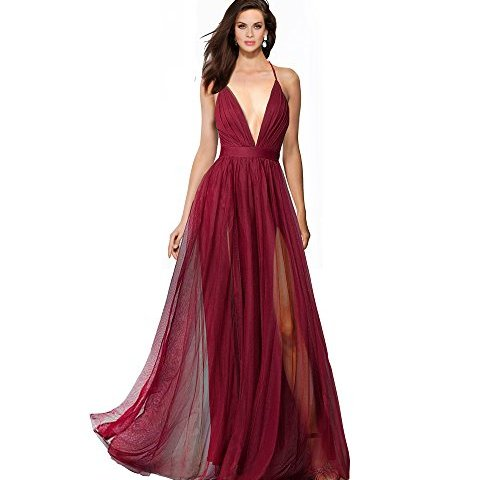 4a671a78c34 SUMINTRAS Alluring Deep v-Neckline Spaghetti Straps Criss-Cross Open Back  Tulle Dual Front Slits Evening Prom Formal Dress