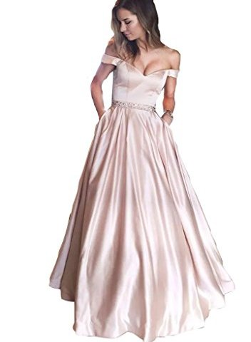 4d7a88c8a82f Off Shoulder Long Prom Dresses Beaded 2018 Sexy V Neckline Floor Length Formal  Gowns Evening Wear