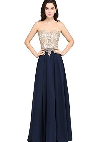 e169ba171a MisShow Sheer Neck Rhinestone Gold Lace Long Formal Evening Gown