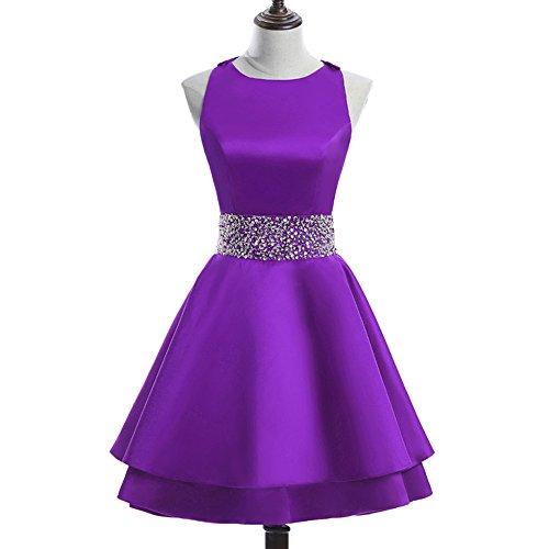 Zhongde Womens Open Back Round Neck Beaded Lace Prom Dress Short Chiffon Homecoming Dress