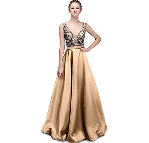 8bf2b97ed040 Nanchor Prom Dresses Evening Gown Formal Sequin Satin Dresses V Neck Long  for Wedding Women