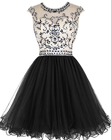 ac33ab63ab1 ALAGIRLS Short Beading Prom Dress Tulle Homecoming Dress Hollow Back