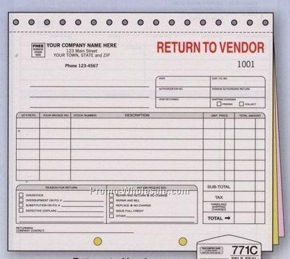 Vendor Forms Template 8 1 2 quot x7 quot 3 part return to vendor – Vendor Form Template