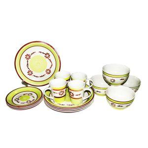Set Déjeuner de 16 pièces en céramique imprimé Fleuris vert bla