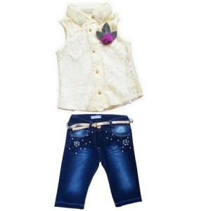 Ensemble haut jaune avec jean pour petite fille