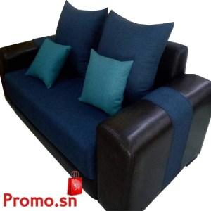 Salon 7 places en tissu bleu noir bras carré