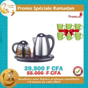Bouilloire avec théière et plaque chauffante + 6 tasses de café offert