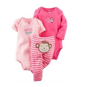 Ensemble 3 pièces pour bébé 100 % coton 2 Barboteuses, pantalon rose