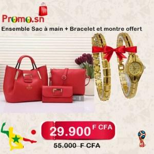 Ensemble sac à main rouge plus bracelet et montre femme offert