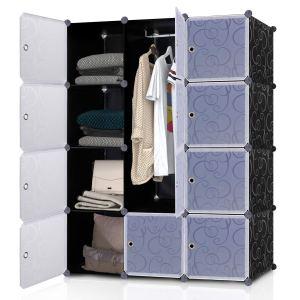 Armoire à Vêtement 12 Cubes DIY en Plastique Résine Penderie Rangement Amovible