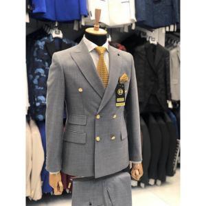 Ensemble costume croisé homme 6 boutons gris