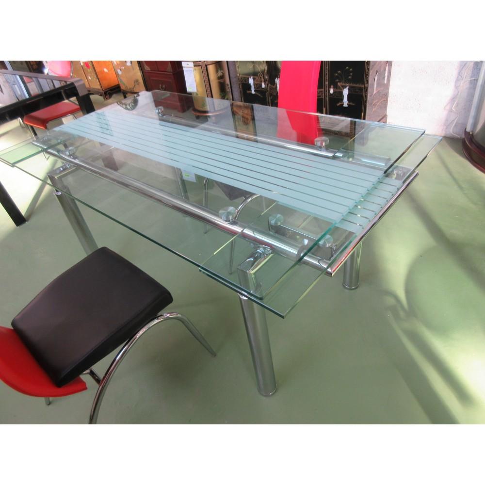 table salle a manger verre avec rallonges magasin du meuble asiatique et chinois