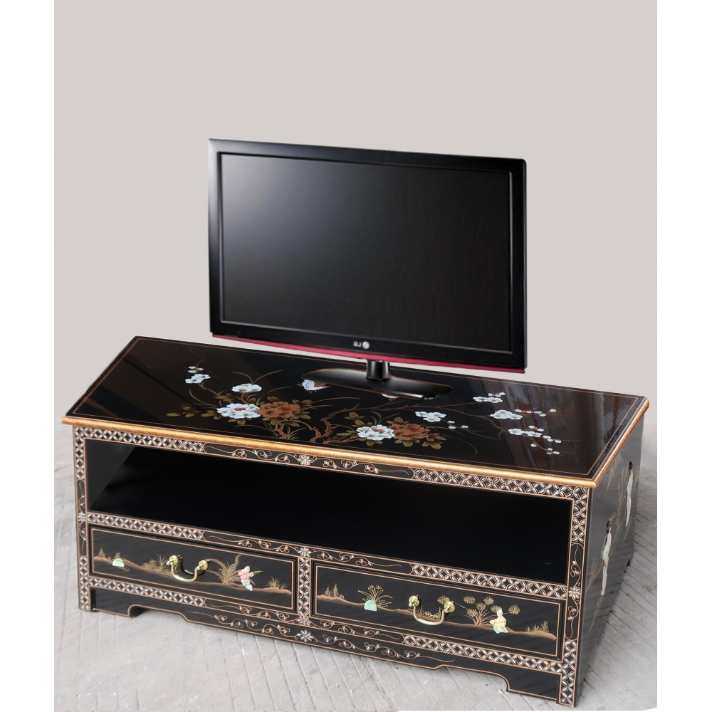 meuble tv chinois laque noire meubles chinois laques
