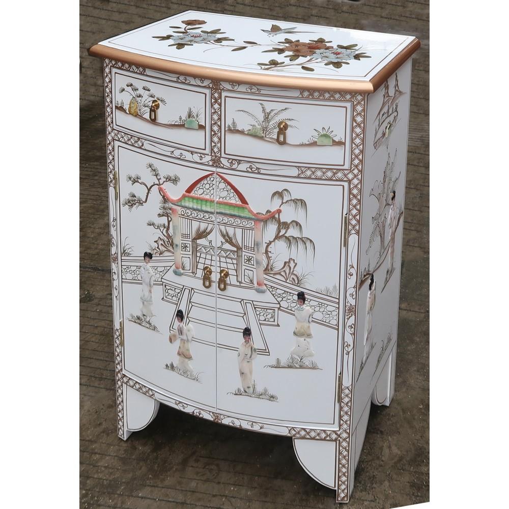 meuble chinois d entree galbe blanc et nacre meubles chinois laques