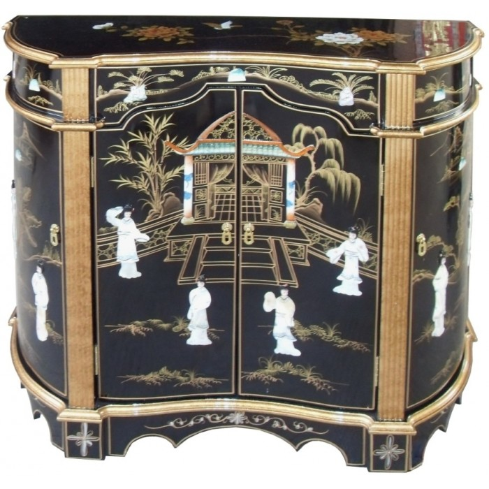 meuble commode chinois ancien galbe laque noire meubles chinois laques