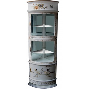 vitrine chinoise d angle laque blanche et nacre meubles chinois laques