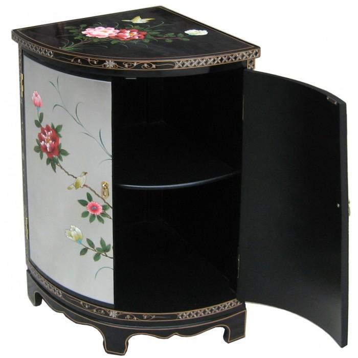 meuble d angle chinois laque argent et noir meubles chinois laques