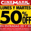 Promo lunes y martes a mitad de precio en Cinemark