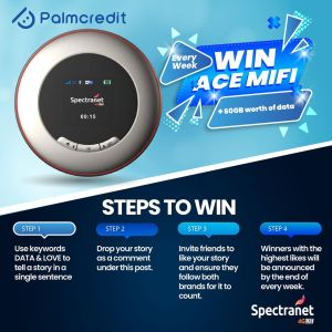 Win an Ace Mifi with 60gb worth of data WEEKLY courtesy of Palmcredit and Spectranet.