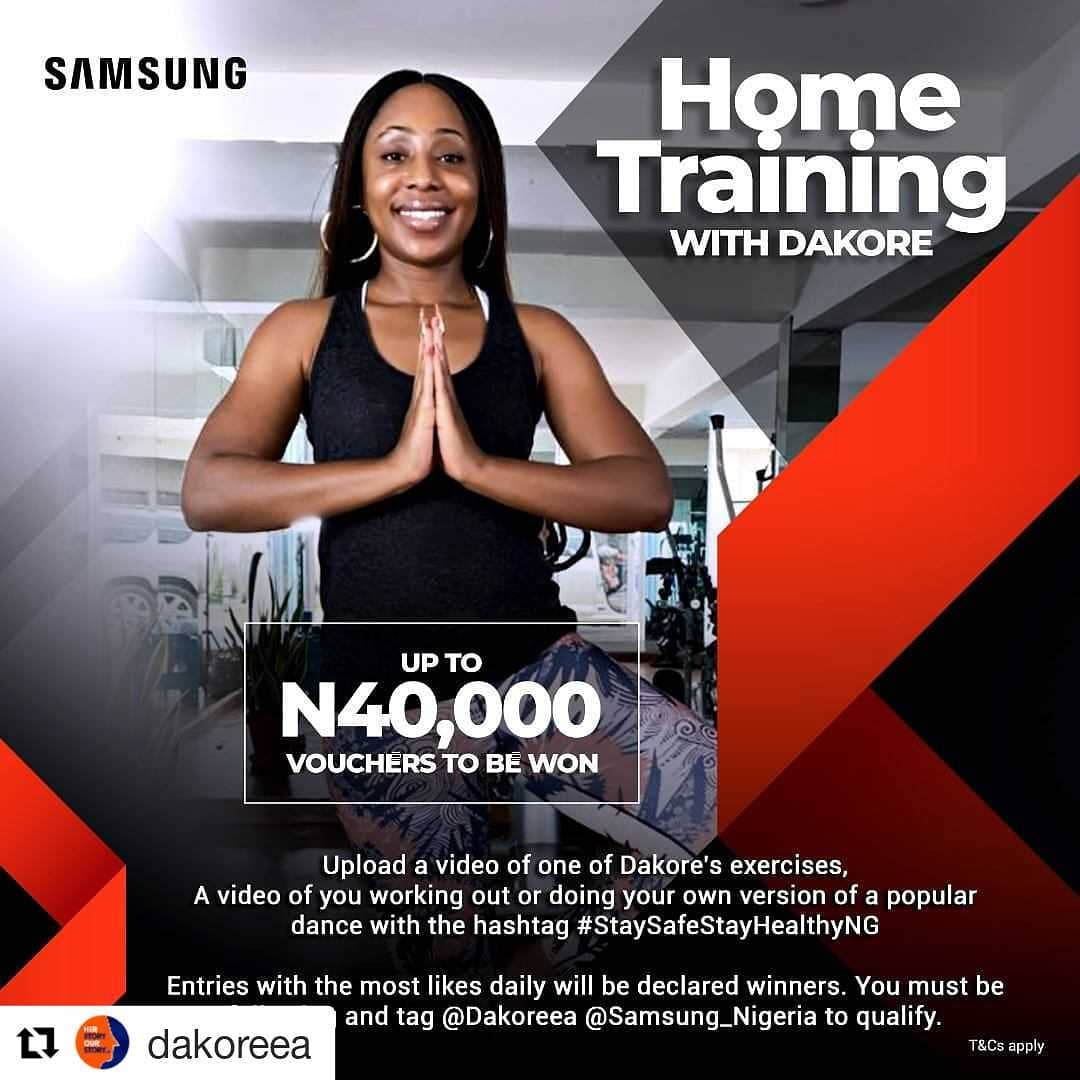 """N40,000 Vouchers For Grabs in Samsung Mobile Nigeria """"Home Training Challenge"""" With Dakore"""