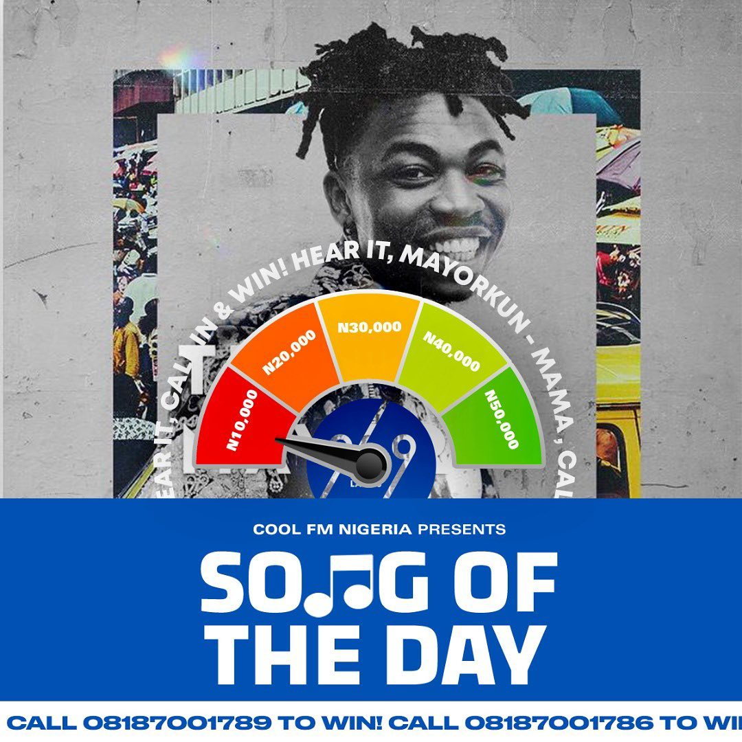 """N10,000 For Grabs in CoolFmLagos """"Song of the Day Challenge""""."""