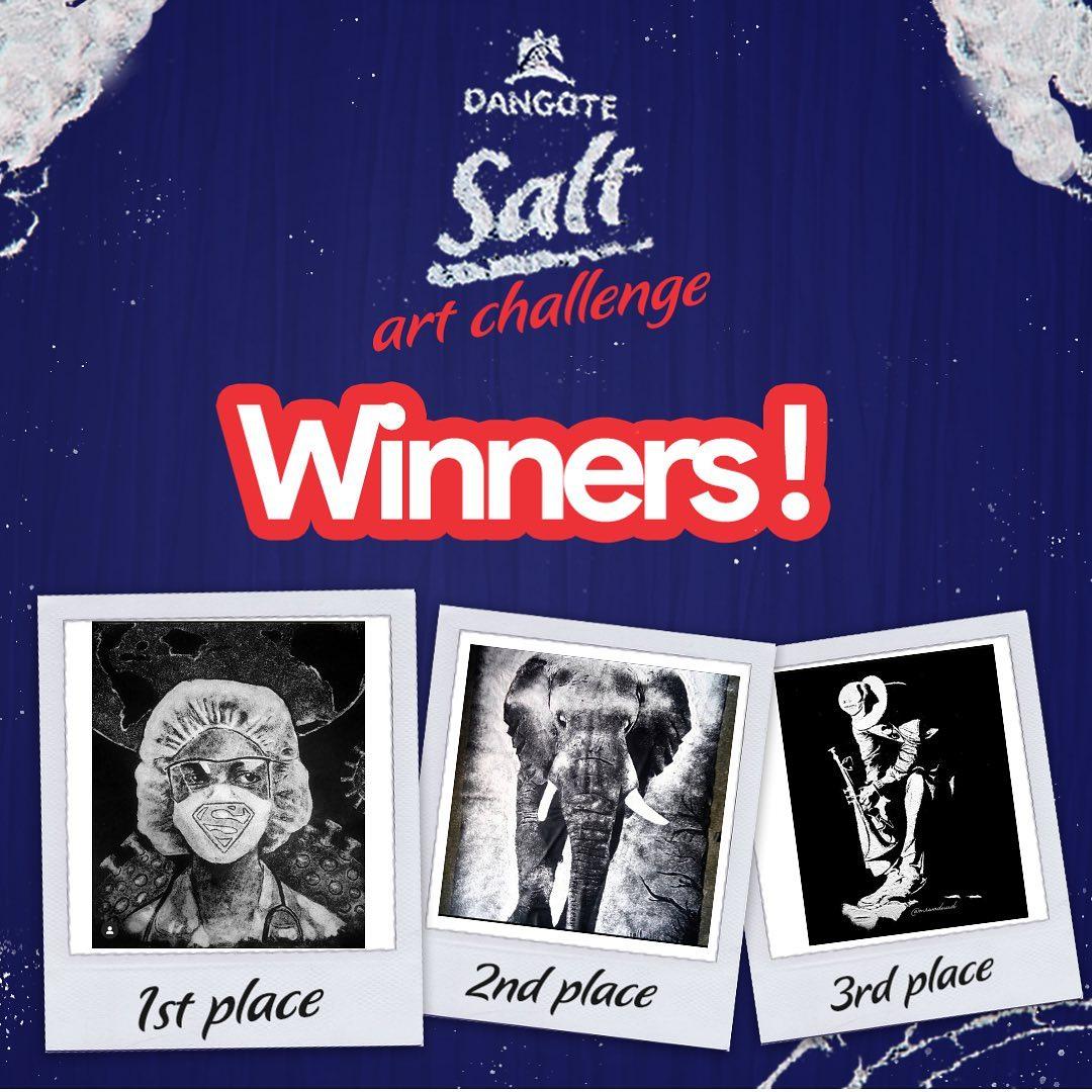 Winners Of Dangote Salt Art Challenge 2020.