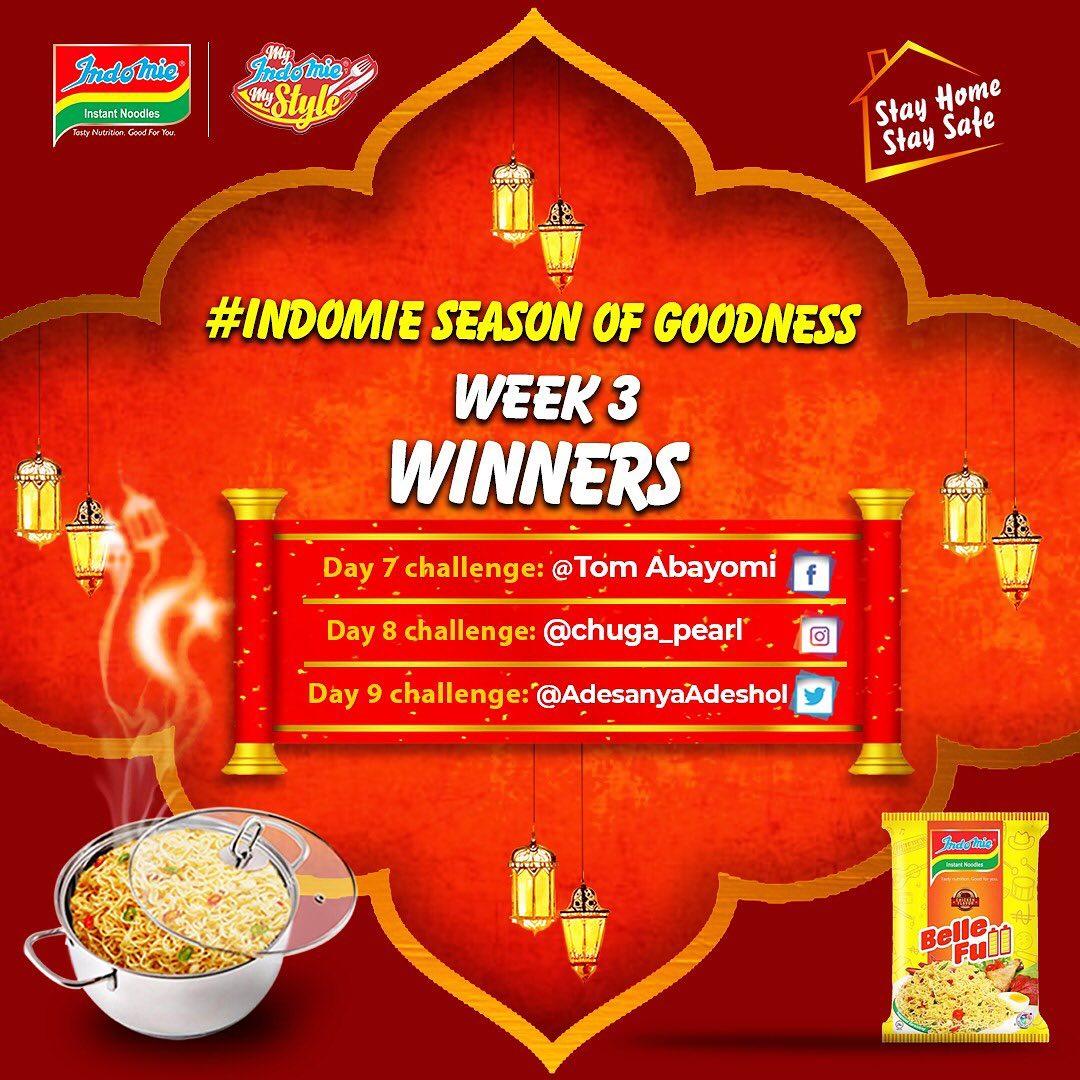 Week 3 Winners of Indomie Season of Goodness Winners Announced
