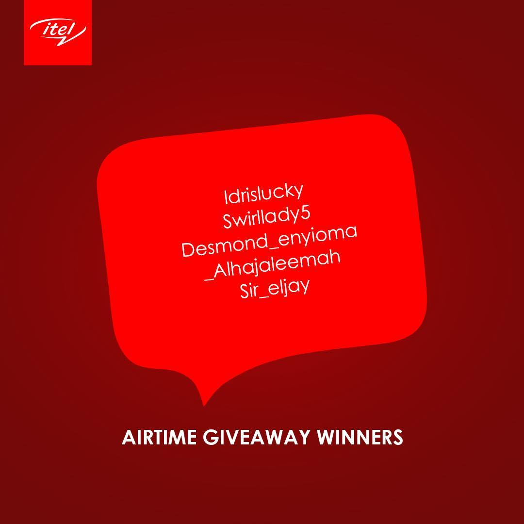 Winners of Itel Mobile Airtime Giveaway