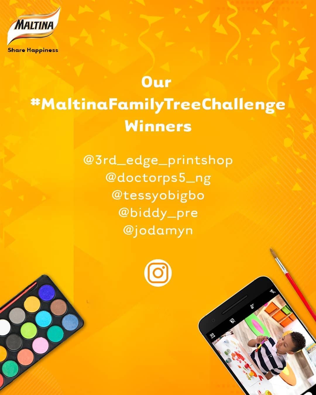 Winners Of Maltina Family Tree Challenge.