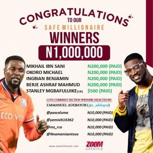 Winners of Mr P of Psquare Zoomupyourlife Giveaway.