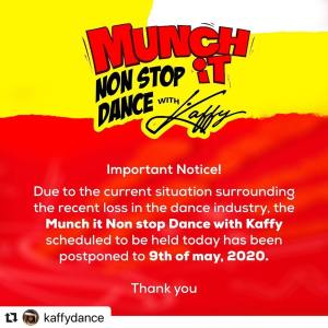 Important Message from Munch It Non-Stop Dance with Kaffy.