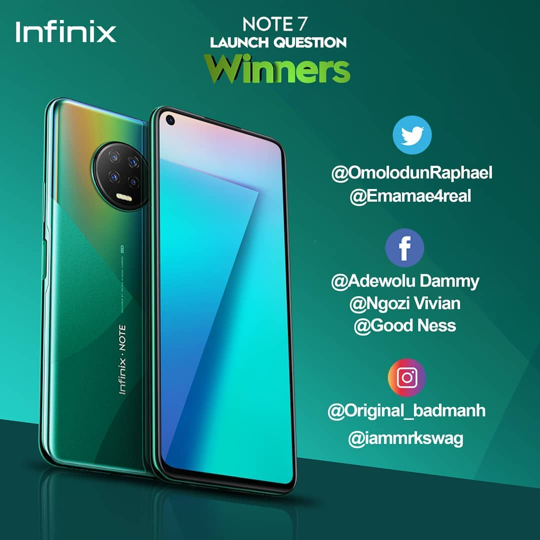 Winners Annoucement For Infinix Note 7  Launch Questions.