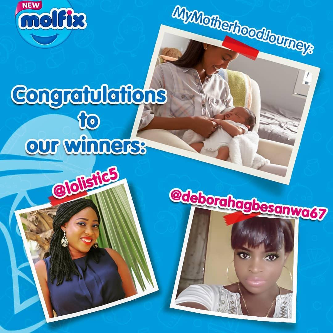 Winners Of Molflix Nigeria #MyMotherhoodJourney Giveaway.