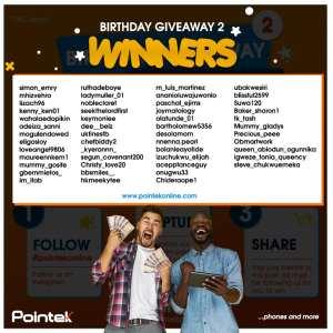 Winners of Pointek MD Birthday Giveaway Part 2.