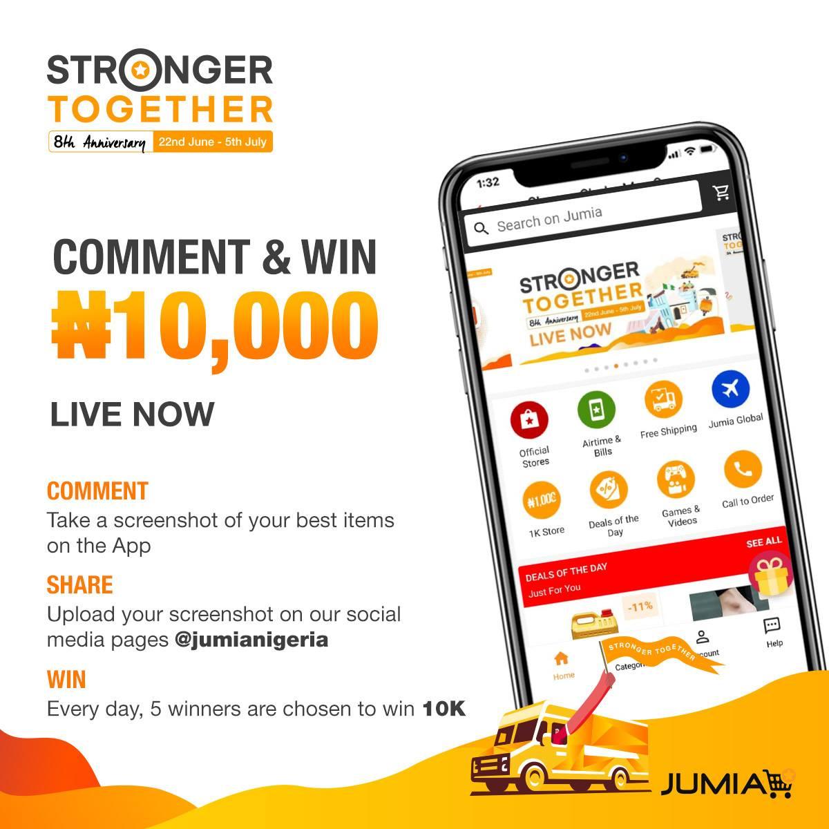 SNAP & WIN N10,000 in Jumia Nigeria Giveaway.