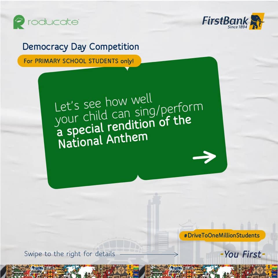 Join The First Bank Democracy Day SINGING Competition For Primary Schools.