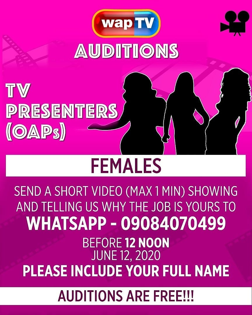WAPTV is Hiring TV Presenters (OAP's), Audition is on, Apply Now.