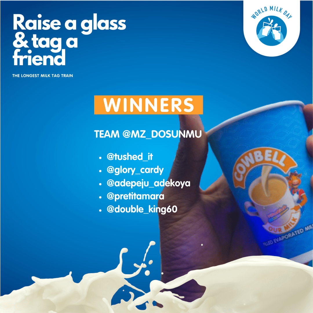 Winners of CowbellMilk Raise a Glass Giveaway!!!