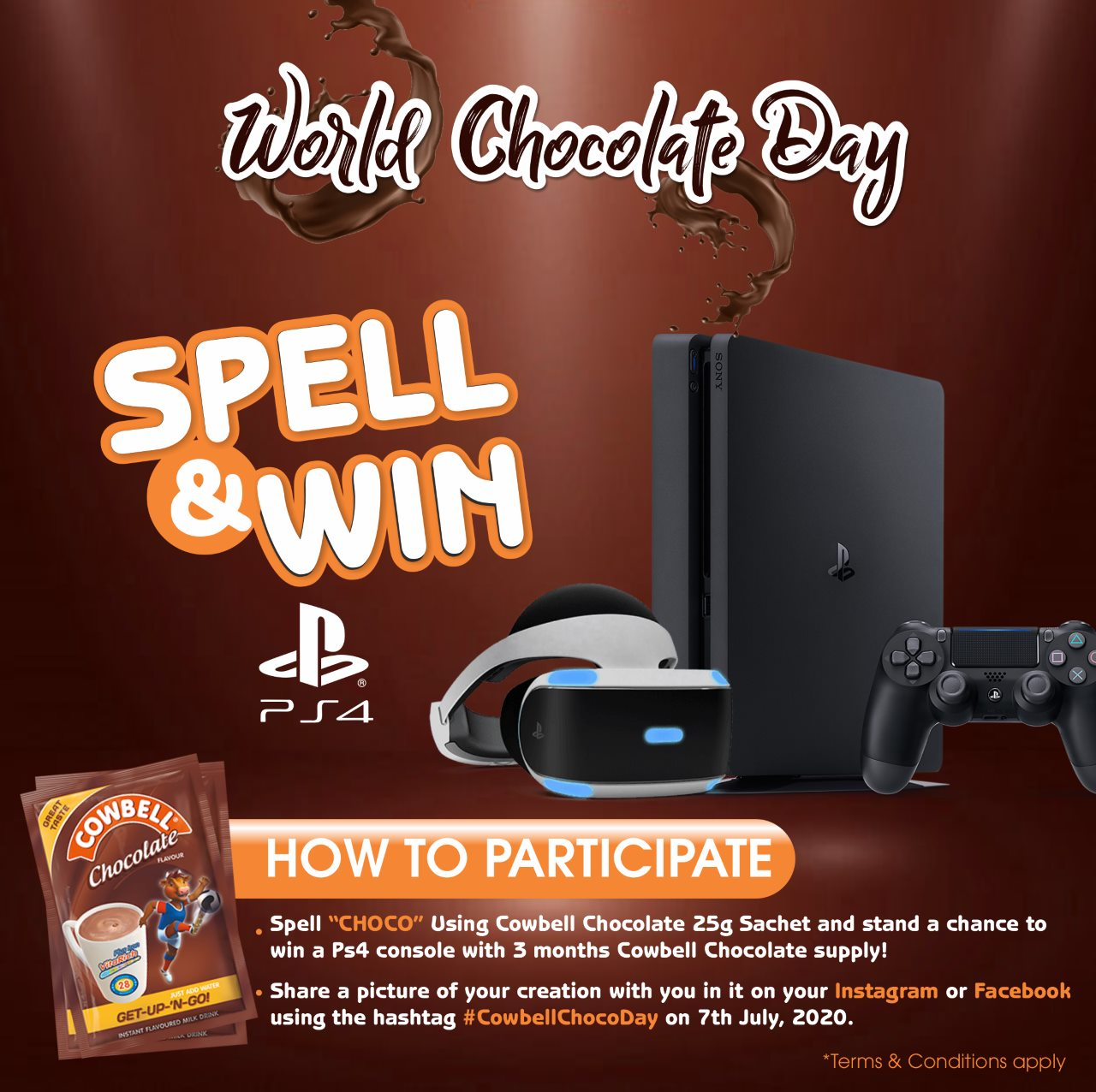Spell CHOCO and Win a PS4 or 3 Months Supply of CowbellMilk in SPELL & WIN GIVEAWAY.
