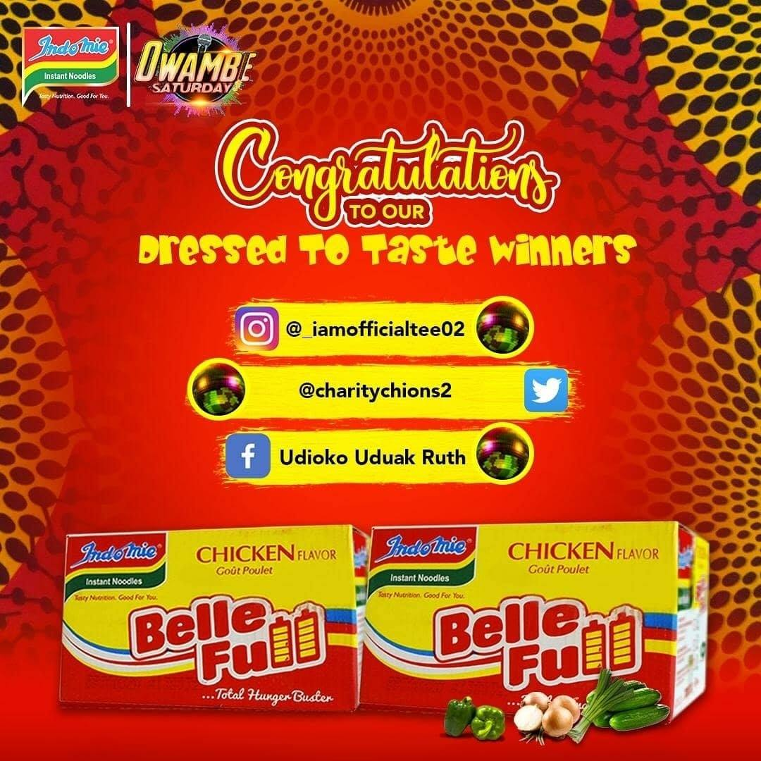 Winners of Indomie Owambe Dressed To Taste Challenge