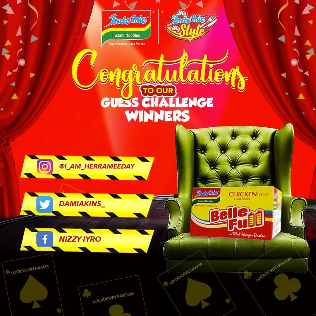 Congratulations to the Winners of Indomie Guess Challenge.