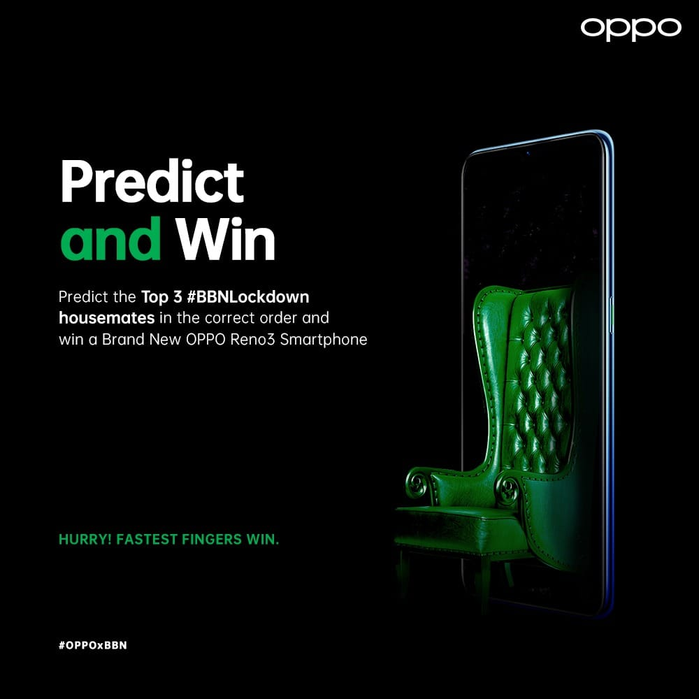 Win a SmartPhone in Oppo Nigeria Predict The 3 Big Brother Finalists and Win.