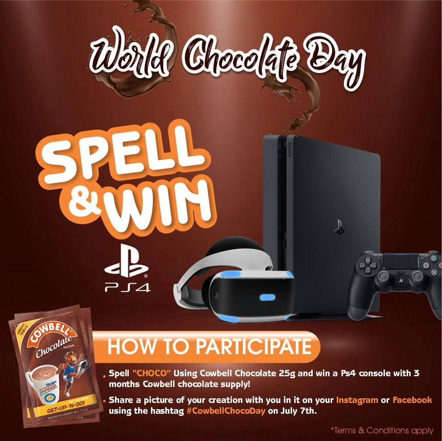 Win a Playstation in #COWBELLCHOCODAY SPELL & WIN.