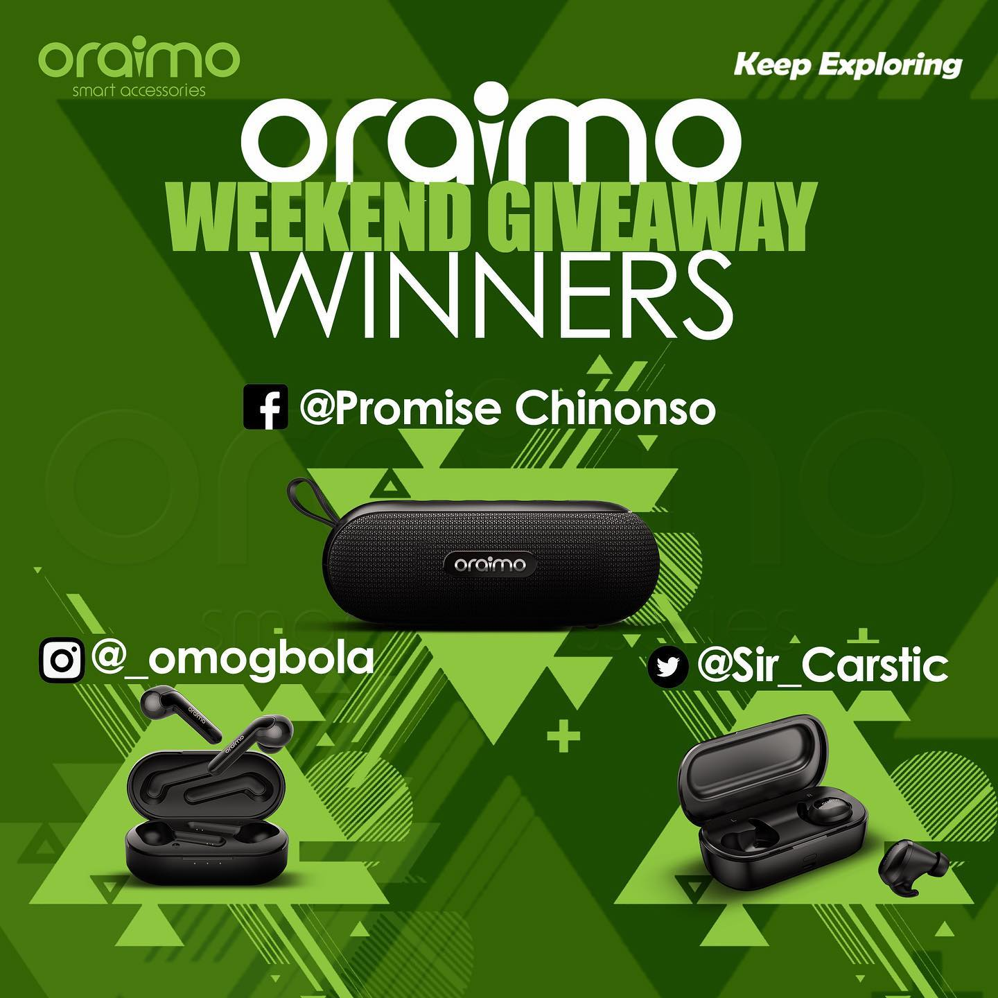 Winners of Oraimo Weekend Giveaway.