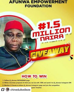 Win Your Share of N1.5Million in Afunwa Empowernment Foundation Giveaway.