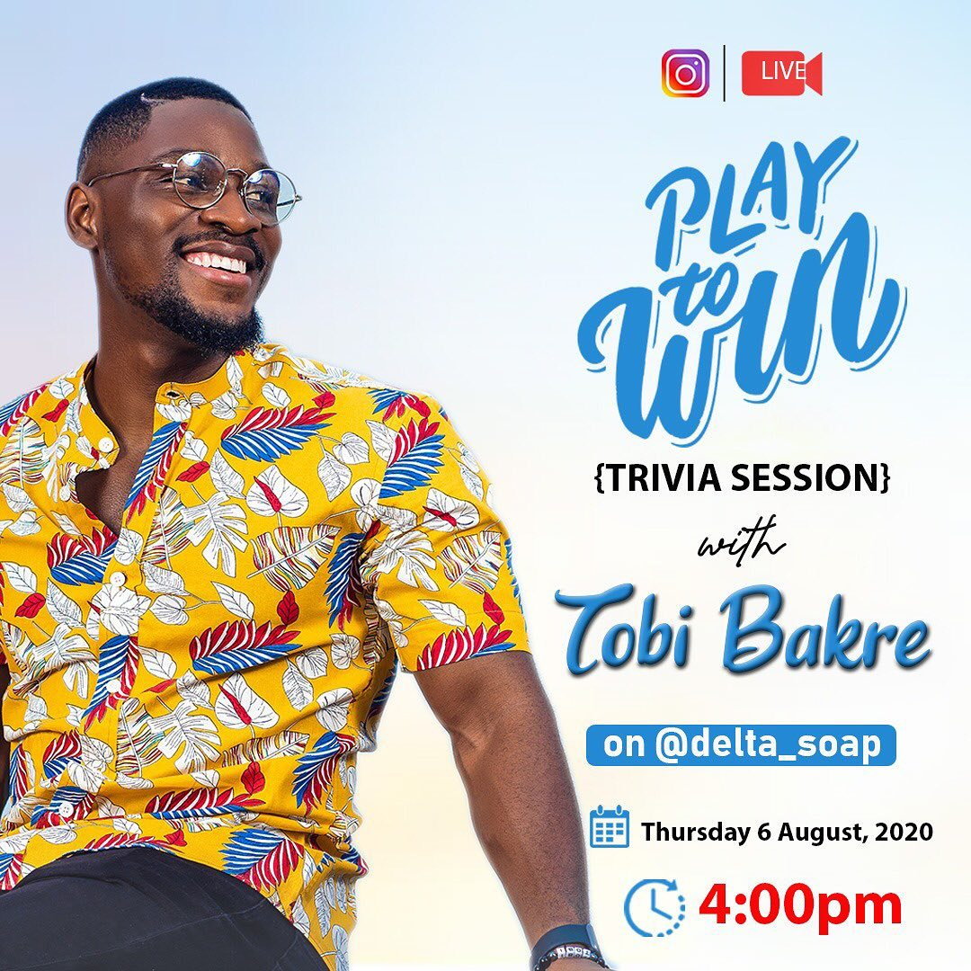 Join The Delta Soap Instagram Live Session With Tobi Bakre today at 4pm